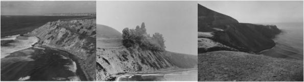 Pictures from Bluff Cove before, during and after the creation of the Douglas Cut section on PV Dr West  Photo Source: Palos Verdes Library District